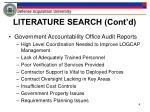 literature search cont d