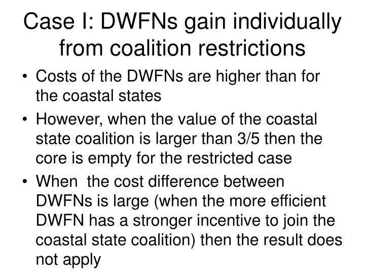 Case I: DWFNs gain individually from coalition restrictions