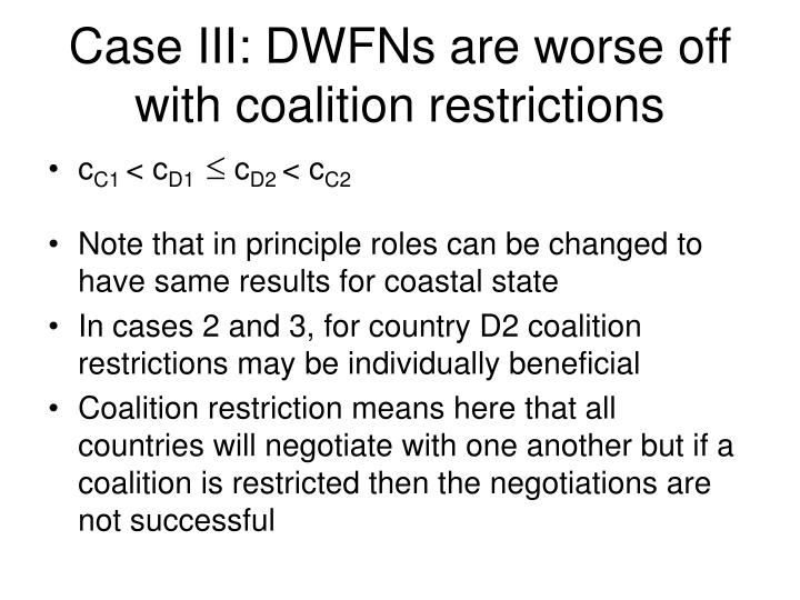 Case III: DWFNs are worse off with coalition restrictions