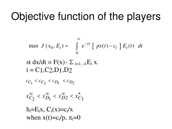 Objective function of the players