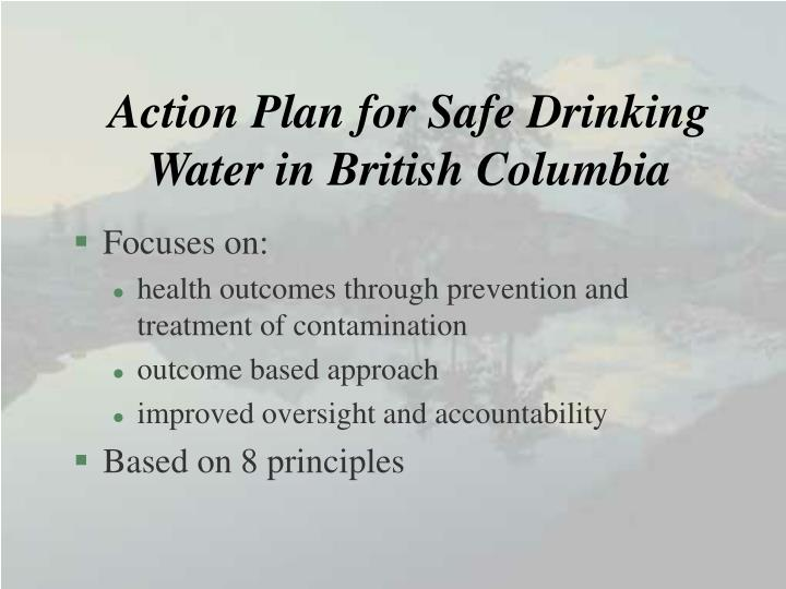Action Plan for Safe Drinking