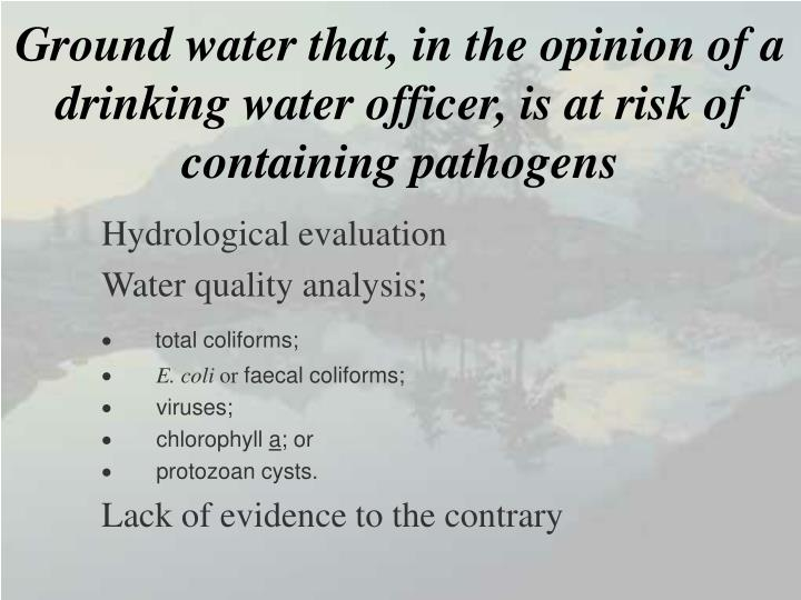 Ground water that, in the opinion of a drinking water officer, is at risk of containing pathogens