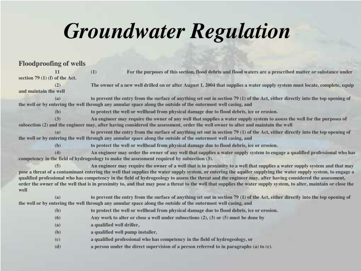 Groundwater Regulation