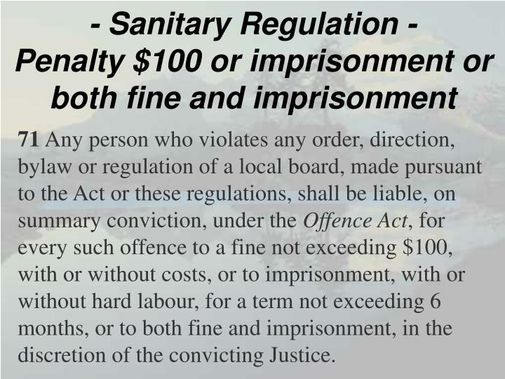 - Sanitary Regulation -