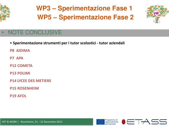 WP3 – Sperimentazione Fase 1