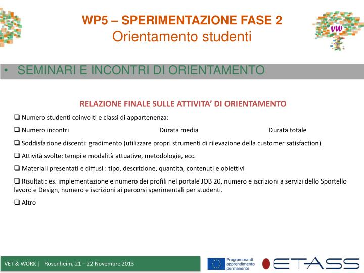 WP5 – SPERIMENTAZIONE FASE 2