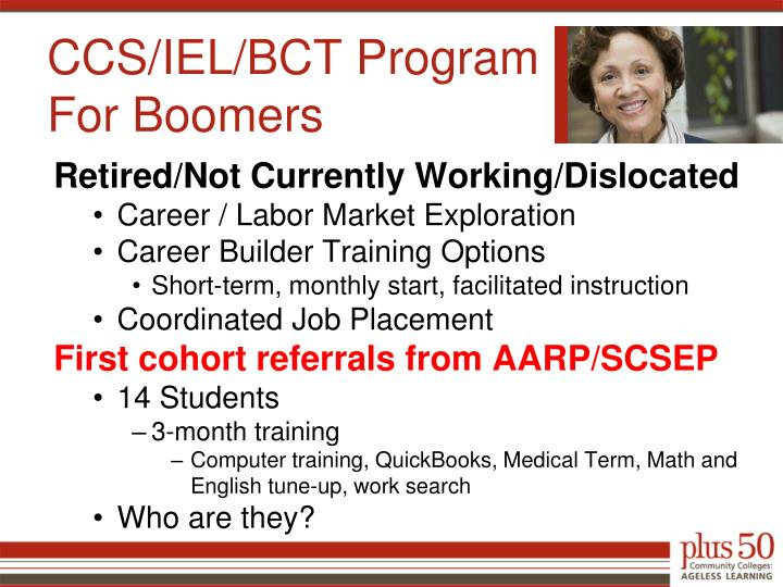 CCS/IEL/BCT Program For Boomers