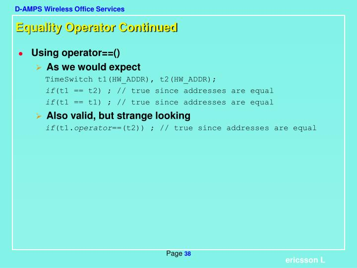Equality Operator Continued