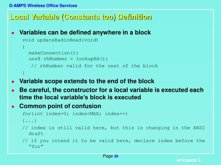 Local Variable (Constants too) Definition