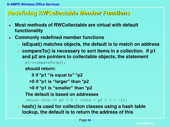 Redefining RWCollectable Member Functions