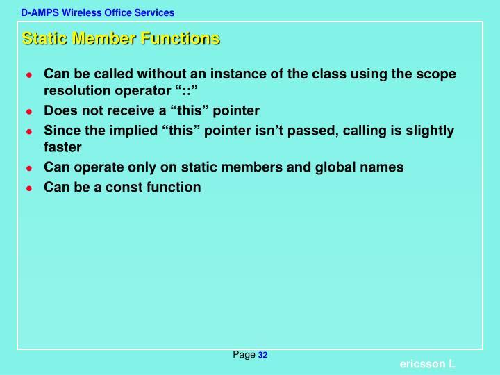 Static Member Functions