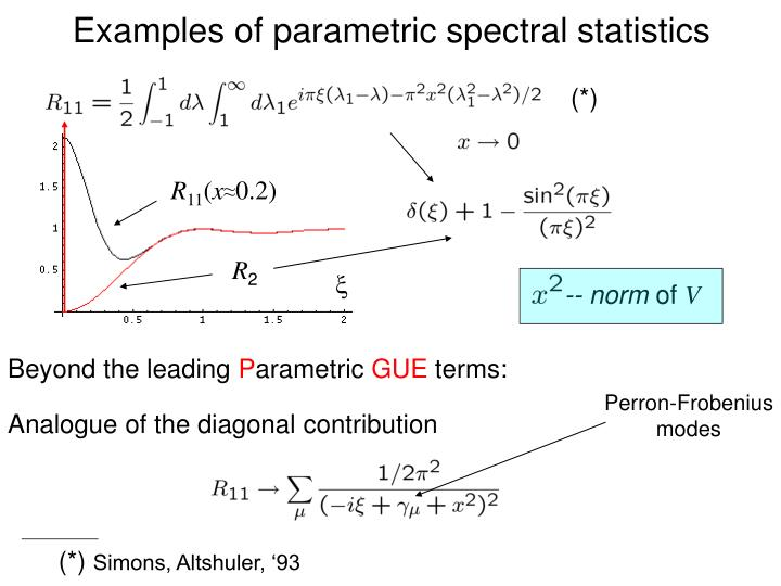 Examples of parametric spectral statistics