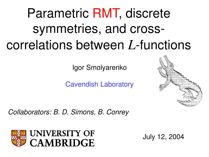 Parametric rmt discrete symmetries and cross correlations between l functions