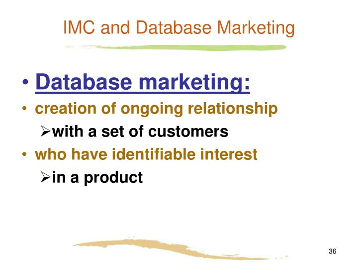 IMC and Database Marketing