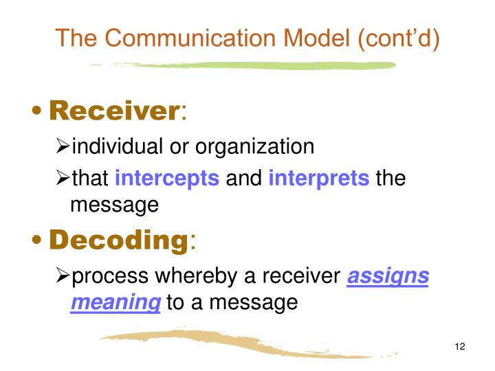 The Communication Model (cont'd)