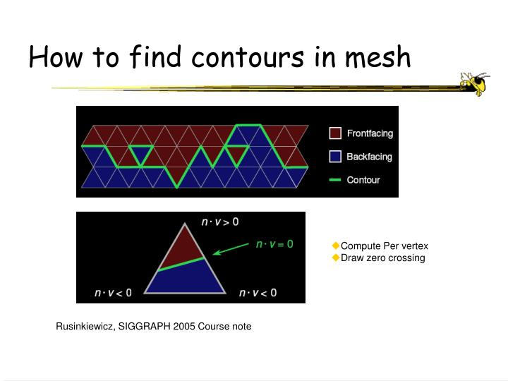 How to find contours in mesh