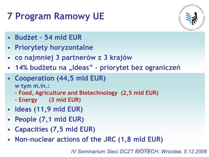 7 Program Ramowy UE