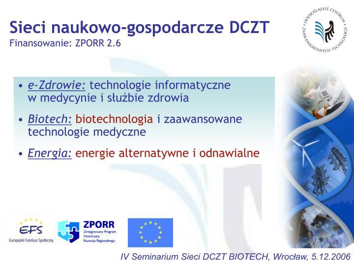 Sieci naukowo-gospodarcze DCZT