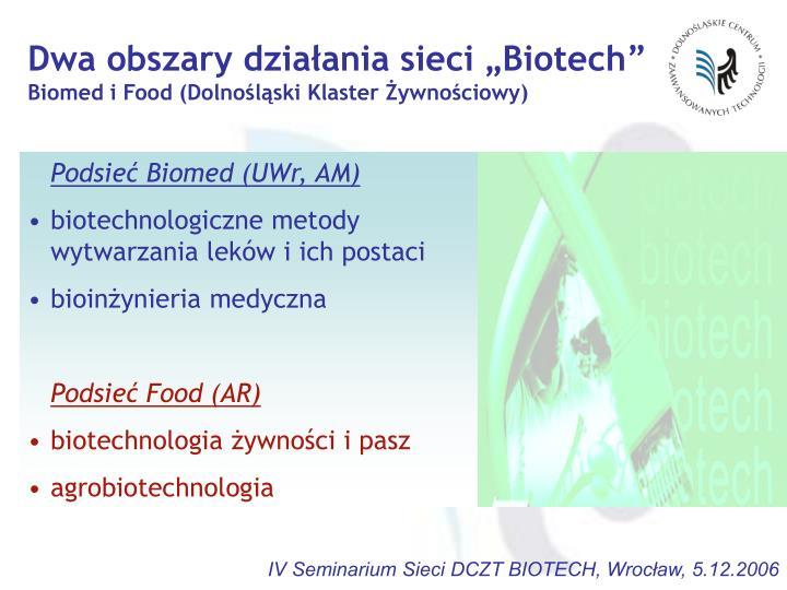 """Dwa obszary działania sieci """"Biotech"""""""