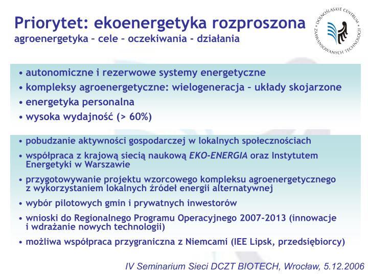 Priorytet: ekoenergetyka rozproszona