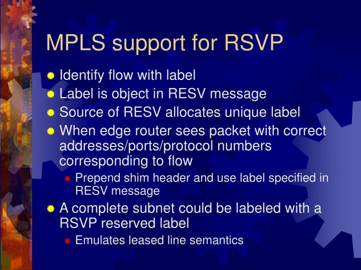 MPLS support for RSVP