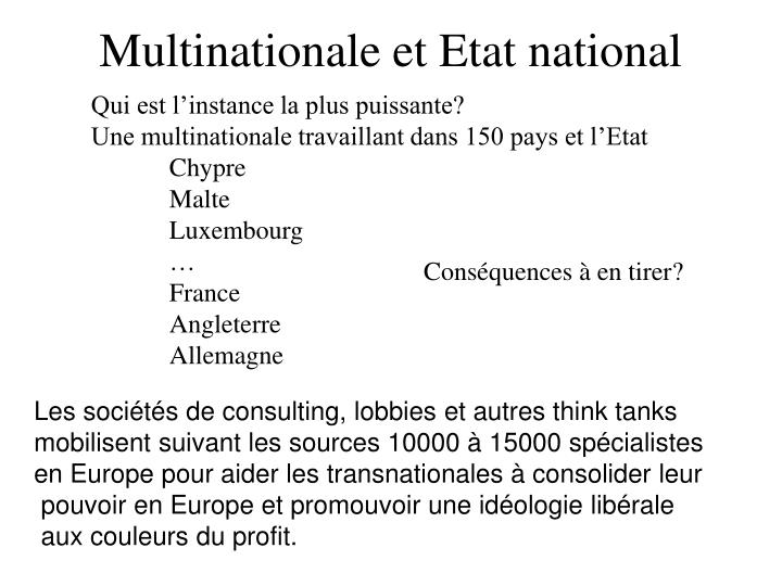 Multinationale et Etat national