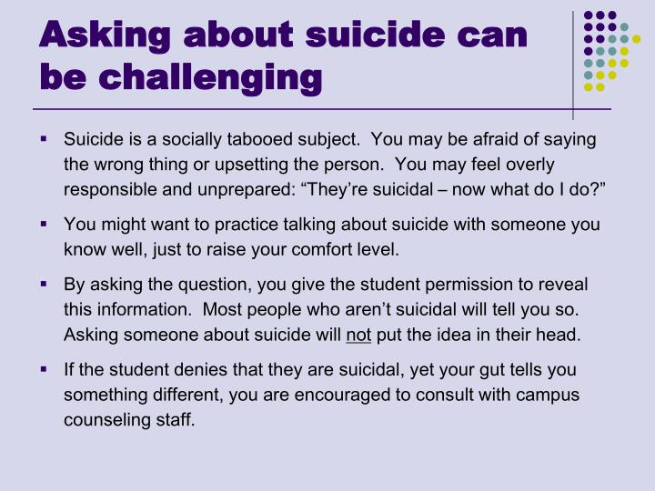 Asking about suicide can be challenging