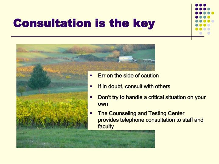 Consultation is the key