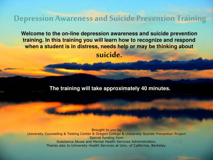 Depression awareness and suicide prevention training