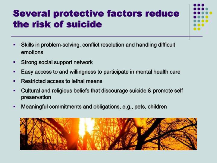 Several protective factors reduce