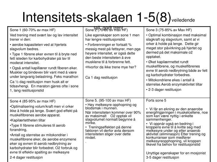 Intensitets-skalaen 1-5(8)