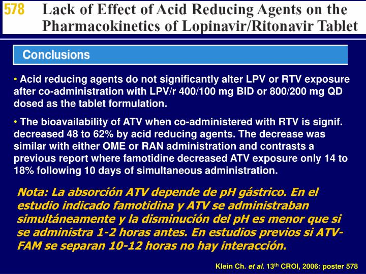 Acid reducing agents do not significantly alter LPV or RTV exposure after co-administration with LPV/r 400/100 mg BID or 800/200 mg QD dosed as the tablet formulation.
