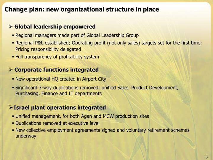 Change plan: new organizational structure in place