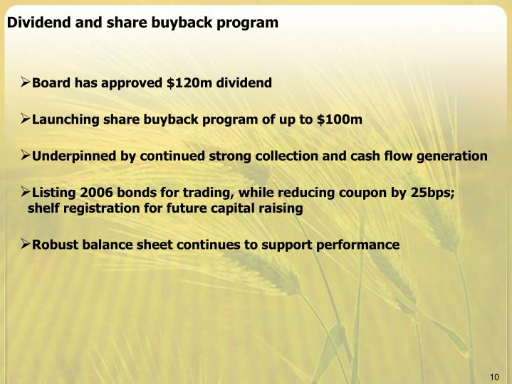 Dividend and share buyback program