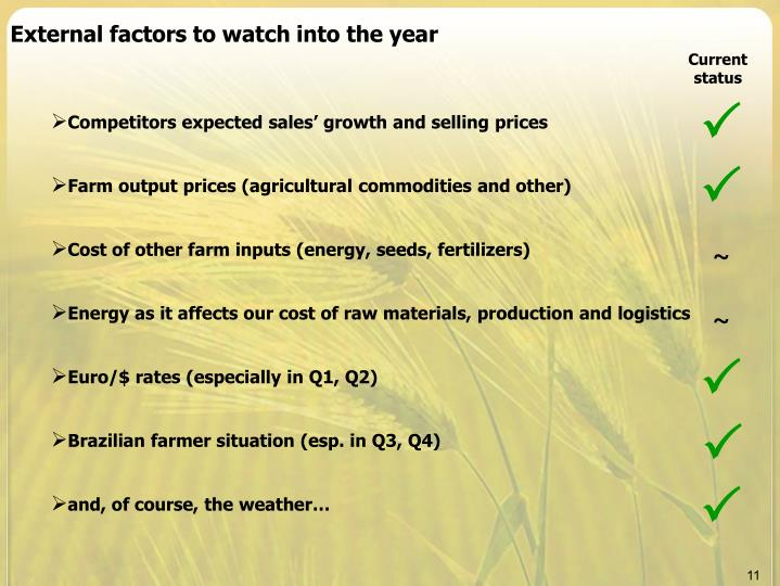External factors to watch into the year