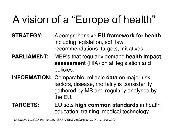 "A vision of a ""Europe of health"""