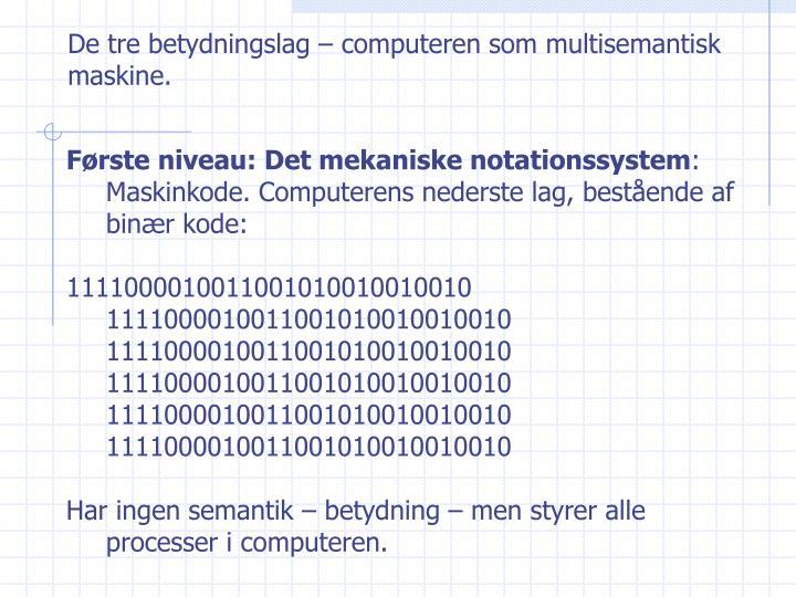 De tre betydningslag – computeren som multisemantisk maskine.