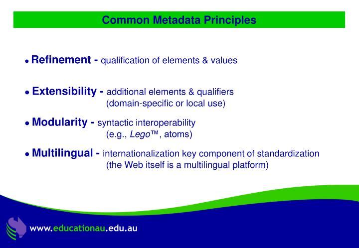 Common Metadata Principles