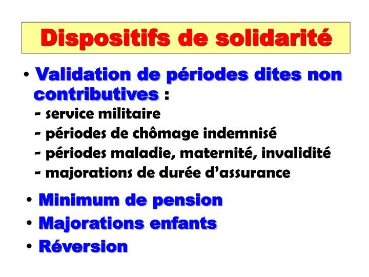 Dispositifs de solidarité