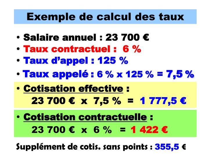 Exemple de calcul des taux