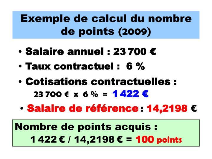 Exemple de calcul du nombre de points