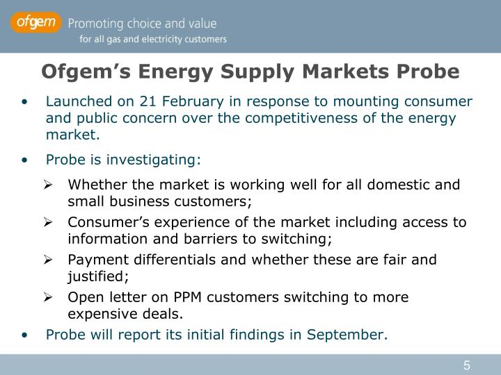 Ofgem's Energy Supply Markets Probe