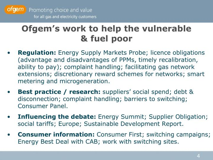 Ofgem's work to help the vulnerable
