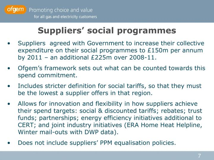 Suppliers' social programmes