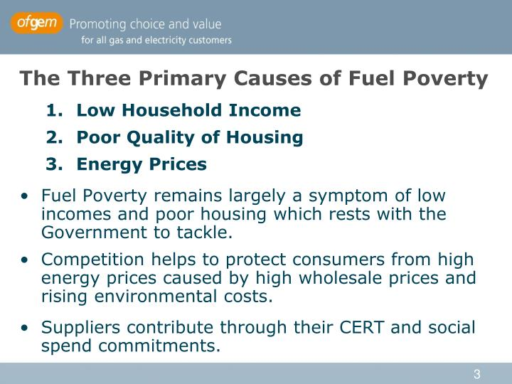 The three primary causes of fuel poverty