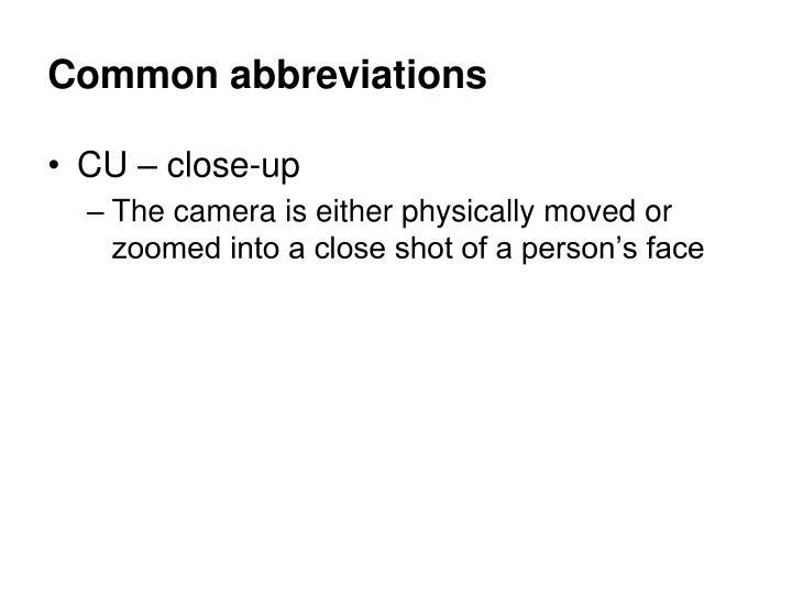 Common abbreviations