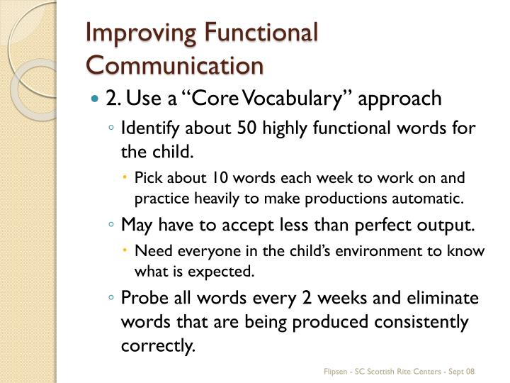 Improving Functional Communication