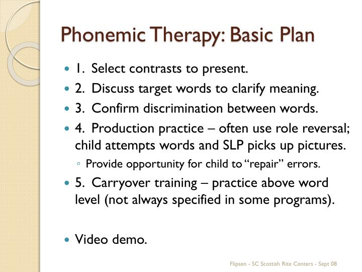 Phonemic Therapy: Basic Plan