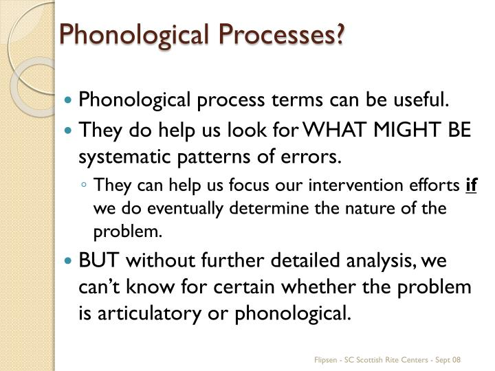 Phonological Processes?