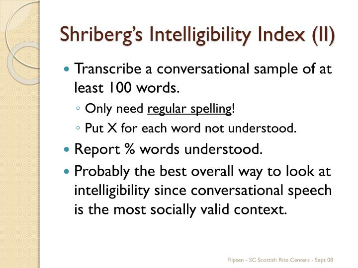 Shriberg's Intelligibility Index (II)